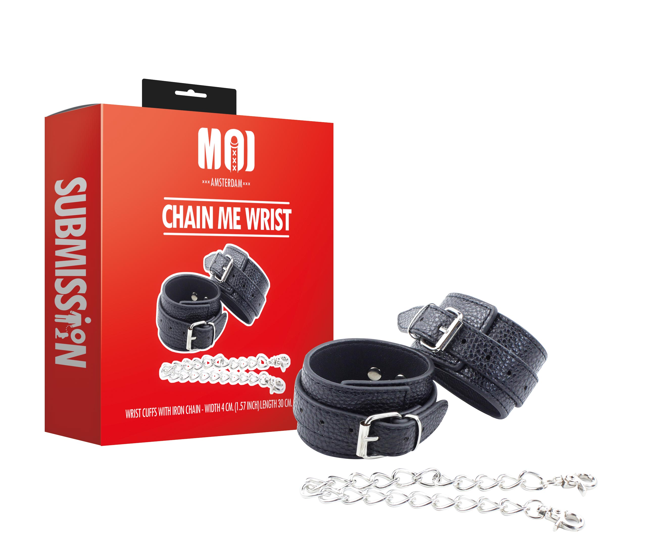 Chain Me Wrist | Wrist Cuffs With Iron Chain - Width 4 cm. (1.57 inch) Length 30 cm. (11.80 inch)